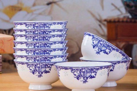 RZKX16-4.5cun-F Set of 10 Jingdezhen bliss pattern blue and white ceramic bowls