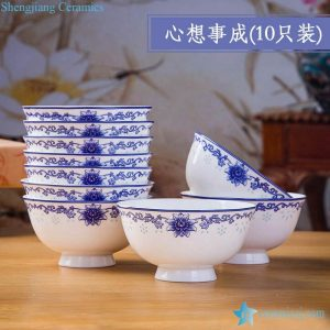 RZKX16-4.5cun-H Set of 10 Jingdezhen flower pattern blue and white ceramic bowls