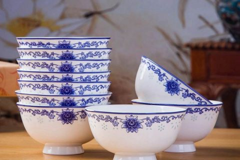 RZKX16-4.5cun-H Set of 10 Jingdezhen flower pattern blue and white ceramic bowls