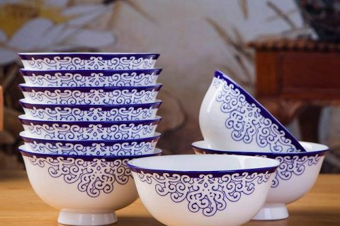RZKX16-4.5cun-Q Set of 10 Blue And White Ceramic Porcelain Bowl