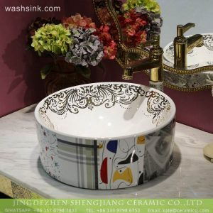 LT-2018-BL3I1507 Beautiful Oriental Round Ceramic Countertop Bathroom Wash Basin For Hotel