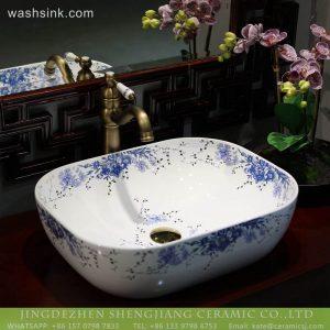 LT-2018-BL3I1600 Jingdezhen Art Rectangle Blue Flower Patterm Bathroom Decorative Caremic Sinks Wash Basin