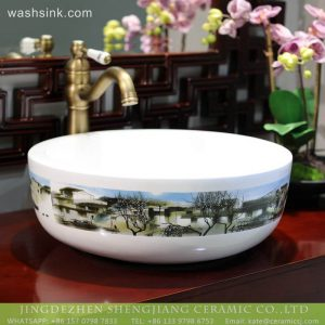 LT-2018-BL3I1714 Jingdezhen bathroom ceramic art wash basin home decor
