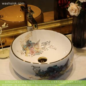 LT-2018-BL3I1852 Jingdezhen fancy chinese ceramic colored bathroom hand wash sinks basin