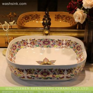 LT-2018-BL3I1931 Jingdezhen Art Rectangle Flower Patterm High quality Wash Basin Rectangular ceramic Vessel Sink