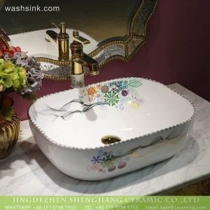 LT-2018-BL3I1991 Jingdezhen bathroom decor rectangle shape ceramic art wash basin