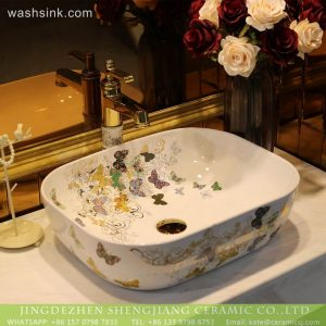 LT-2018-BL3I2035 Sanitary Ware New Design Butterfly Print China Porcelain Bathroom Hand Sink Ceramic Wash Basin