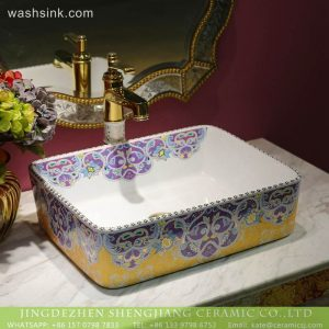 LT-2018-BL3I2062 Jingdezhne Sanitary Ware rectangle Print China Porcelain Bathroom Hand Sink Ceramic Wash Basin