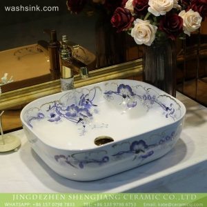 LT-2018-BL3I2124 Jingdezhen porcelain factory direct wholesale ceramic basin wash sink bathroom decor