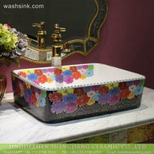 LT-2018-BL3I2152 Sanitary Ware rectangle Jingdezhen Porcelain Bathroom Decor Hand Sink Ceramic Wash Basin
