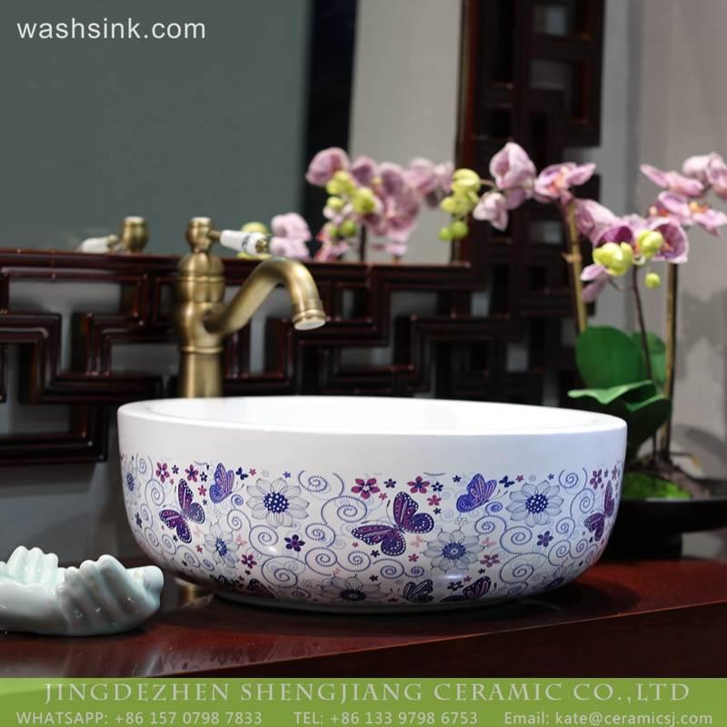 LT-2018-BL3I2161 Jingdezhen porcelain factory direct customize supply wholesale ceramic basin wash bathroom sink