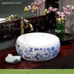 LT-2018-BL3I2188 New design blue and white ceramic smooth bathroom basins wash