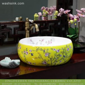 LT-2018-BL3I2199 Jingdezhen sanitary ware new design yellow ceramic bathroom basins wash sink