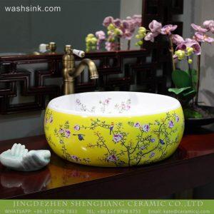LT-2018-BL3I2199 Jingdezhen sanitary ware new design yellow ceramic bathroom basins wash sink