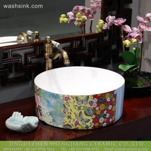 LT-2018-BL3I2226 Jingdezhen Sanitary Ware Printing Porcelain Bathroom Wash Basin Sink