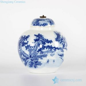 RYCI51-a Blue and white China brush painting style porcelain jar with metal ring