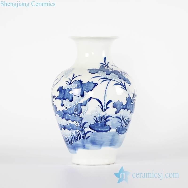 Antique imitation lotus relief pattern chinaware flower vase