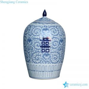 RYVM22-C China hand painted style blue and white double happiness words porcelain candle jar