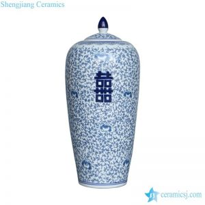 RYVM22-b Slim and tall hand drawing style double happy jar porcelain