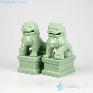 RYXP21-Q Green color chinaware lion book end
