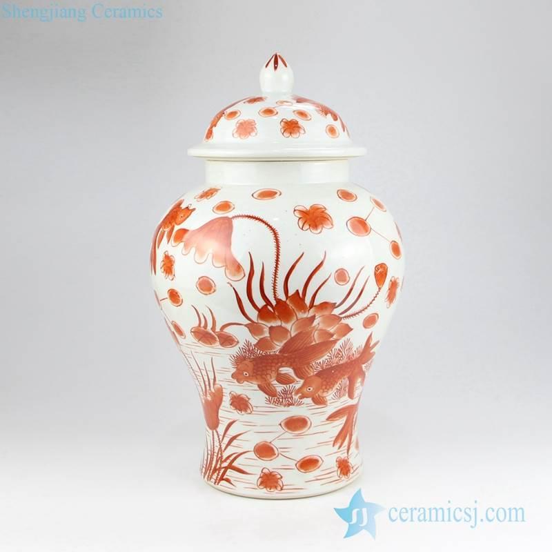 Red fish pond pattern hand drawing ceramic home decor jar