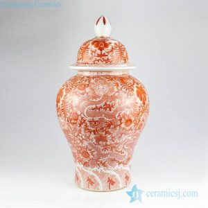 RZIS04 Chinese lord of sea--sea dragon with flower pattern hand draft red color interior design ceramic jar