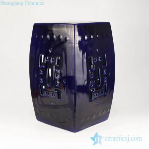 RZKL02-B Indigo blue Indian style square ceramic bar stool
