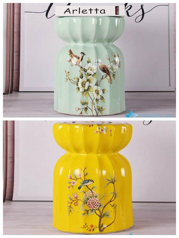 Modern interior design bird floral ceramic medium measurement seat for kids