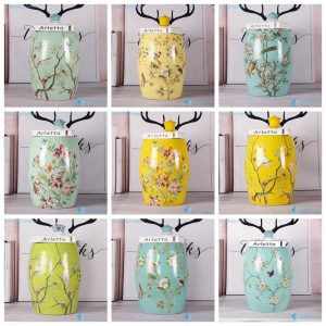 RZKL07-A K Different color background bird flower Jingdezhen Shengjiang ceramic home decor stool