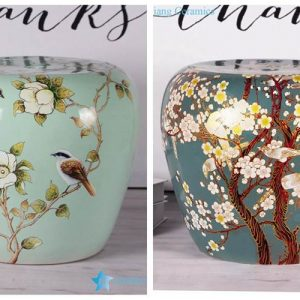 RZKL08-A/B Cute cozy floral bird chinaware stool