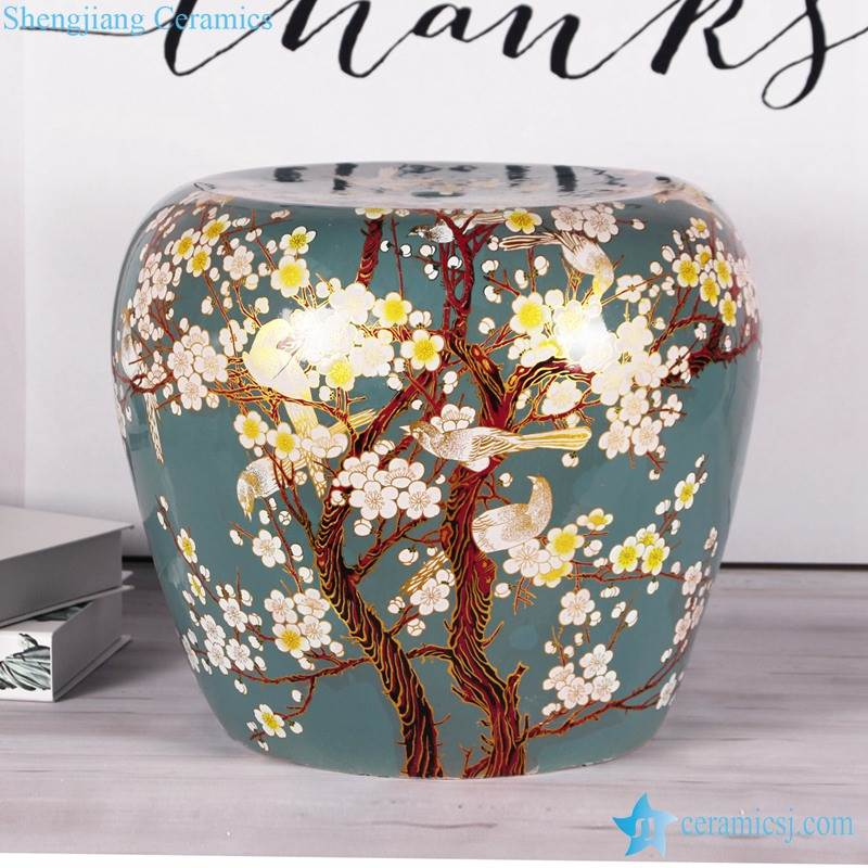 Cute cozy floral bird chinaware stool