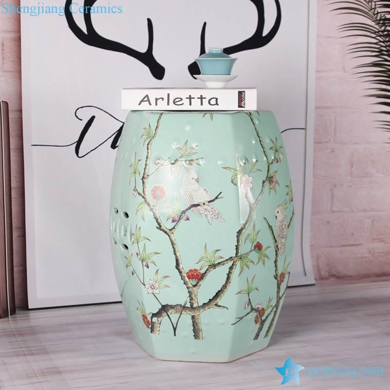 Sexangle shape turquoise background china stool