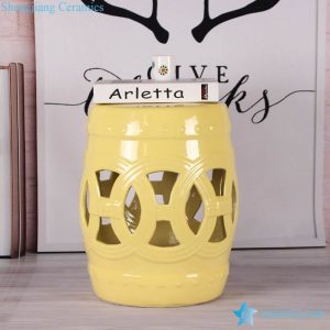 RZKL12-A-F Lemon color glossy ring inspiration stoneware stools