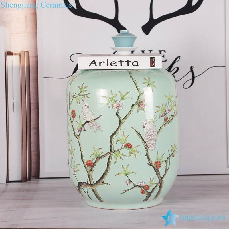 Smooth surface turquoise parrot tree branch pattern ceramic barrel chair