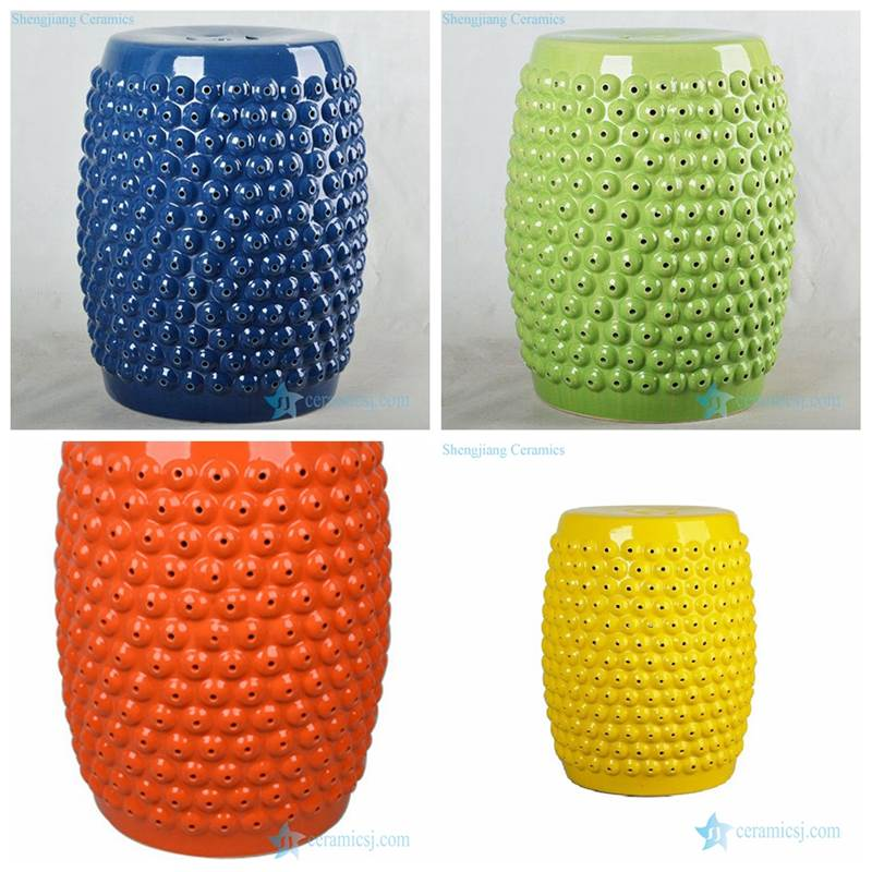 Corn style China manufacture solid color ceramic stool