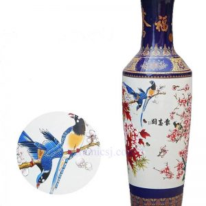BV003 Vintage hand drawing Flower and bird floor ceramic standing vase large for office decor