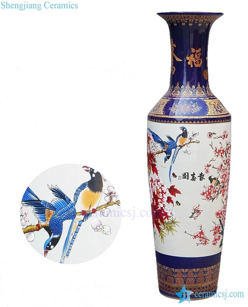BV003 Vintage hand drawing Flower and bird floor ceramic standing vase large for office decor