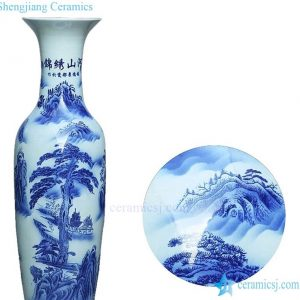 Hot sale vintage hand drawing china floor ceramic standing vase large for office decor