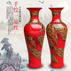 BV 40 60 inch tall floor vase with Red artificial flowers glossy for office decoration