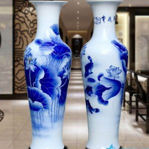 BV82 - wholesales antique chinese 60inch blue and white floor ceramic porcelain flower vase large for office decoration