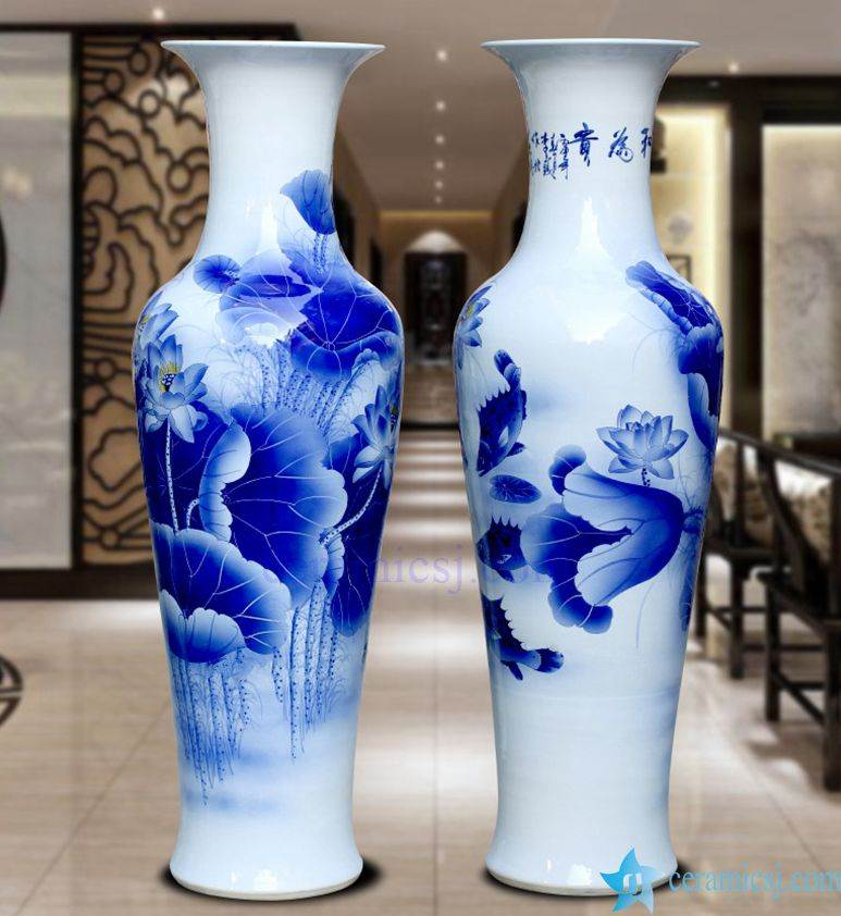 Bv82 Wholesales Antique Chinese 60inch Blue And White Floor Ceramic Porcelain Flower Vase Large For Office Decoration Jingdezhen Shengjiang Ceramic Co Ltd Jingdezhen Hand Painted Ceramics Porcelain Manufacturers Wholesale