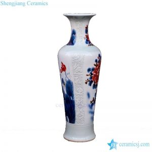 BV 61 60 inch tall floor vase with Red artificial flowers for office decoration