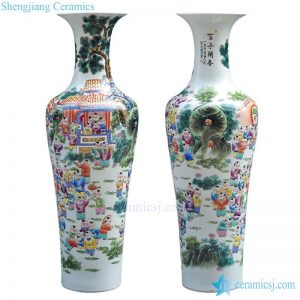 BV62 60 inch tall floor vase with artificial flowers for office decoration