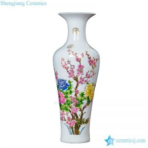 BV64 Tall floor vase with artificial flowers for office decor