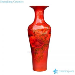 BV-66 Tall floor vase with Red in glaze artificial flowers glossy for centerpieces decoration
