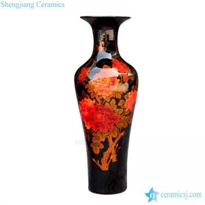 BV 67 Tall with black and red artificial flowers glossy vase in glazed for centerpieces