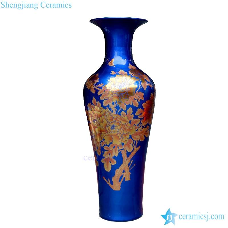 BV-68 Blue and gold artificial flowers glossy tall ceramic vase for centerpieces decoration
