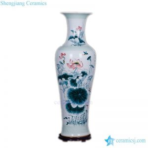 BV-82 Blue and white artificial red flowers glossy tall ceramic vase for centerpieces decoration