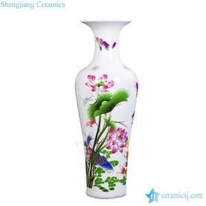 BV64 Tall floor vase with bule and white artificial flowers glossy for centerpieces