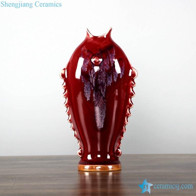 oxblood color transitional glaze fish design ceramic vase
